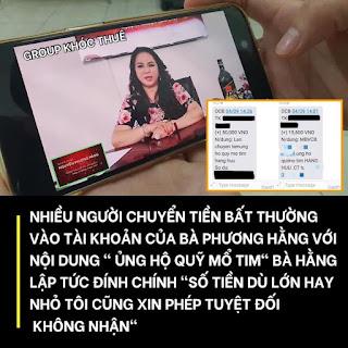 """Bà Phương Hằng thông báo về vụ """"Nhiều người chuyển tiền bất thường vào Quỹ mổ tim"""""""
