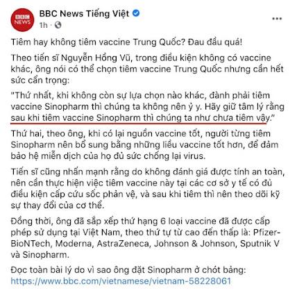 Dân mạng bóc phốt phát biểu của TS Nguyễn Hồng Vũ về vaccine Sinopharm